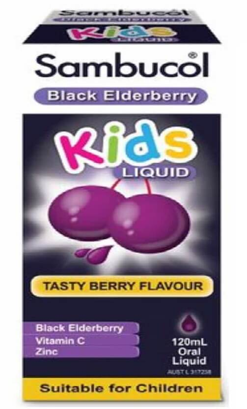 Siro bổ sung Vitamin C + Kẽm cho bé Sambucol Black Elderberry Kids Liquid 120ml